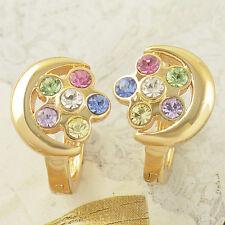 Vintage  yellow Gold Filled Rainbow CRYSTAL Flowers womens  Moon Hoop Earrings