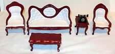 6 PC VICTORIAN LIVING ROOM CHERRY DOLLHOUSE FURNITURE MINIATURES