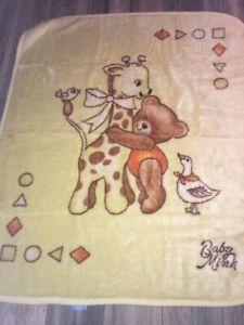 The World Of Baby Mink Plush Baby Crib Yellow Blanket Giraffe Teddy Bear Duck