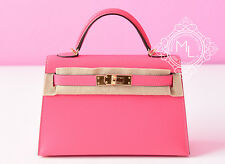 NEW HERMES ROSE LIPSTICK PINK MINI KELLY II 20 POCHETTE CUT BAG CLUTCH BIRKIN
