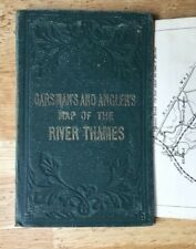 1861 Antique folding map: Ravenstein's Oarsman's and Angler's map of the Thames.