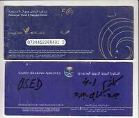 GULF AIR SAUDI ARABIA  AIRWAYS 2 PASSENGER TICKET AND BAGGAGE CHECK
