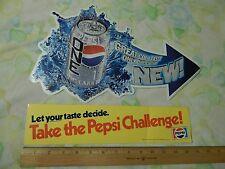 "(Vtg) Stickers ""Pepsi Challenge"" + ""Pepsi One"" In-store Cooler Decals Ltd. Promo"
