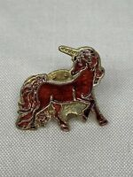 Vintage Red Unicorn Pinback Pin New Old Stock