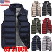 US Winter Warm Mens Down Cotton Padded Sleeveless Jacket Vest Waistcoat L-3XL