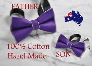 Father Son Match 100% Cotton Handmade Purple and Grey Bow Tie Bowtie Wedding