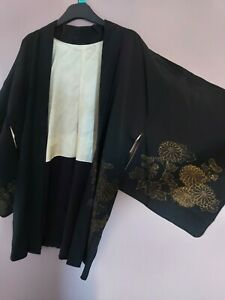 Vintage Japanese Ladies' Black 'Glitter Garden' Kimono Haori Evening Jacket M/L