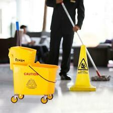 34qt Commercial Mop Bucket With Wringer Combo Rolling Cleaning Cart Side Press Us