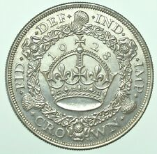 More details for very scarce 1928 george v wreath crown, british silver coin [only 9034 struck]