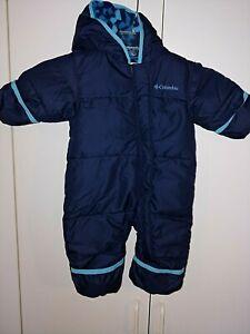 COLUMBIA OMI-SHIELD NAVY INFANT HOODED SNOWBUIT-3-6 MONTHS-WORN 1-FLEECE INSIDE