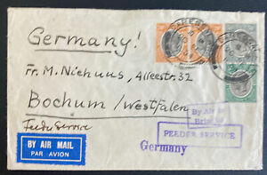 1934 Dar Es Salaam Tanganyika First Flight Airmail Cover FFC To Bochum Germany