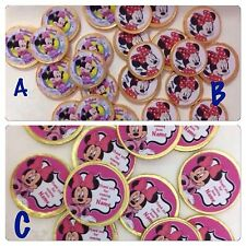 16 x Personalised Minnie Mouse Milk Chocolate Gold Coins Party Favours Treats