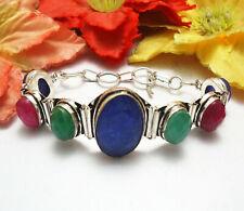 "Simulated Blue Sapphire Emerald Ruby Bracelet 925 Silver Overlay Sz 8"" U185-A69"