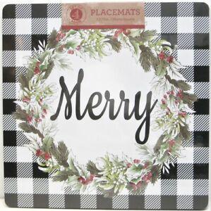 Set / 4 Benson Mills Cork Placemats Square Merry Christmas Buffalo Check Black