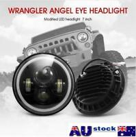 AU 1x 7inch Round LED Headlight Hi/Low Beam Halo Angle Eyes For Jeep Wrangler JK