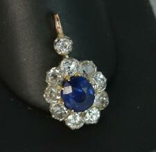 1.00ct Old Cut Diamond Pendant d2046 Victorian 18ct Gold No Heat Sapphire &