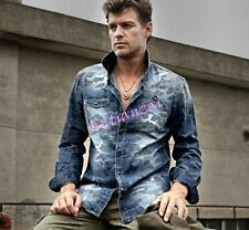 Spring Mens Camo Jeans Denim Leisure Slim Fit Fashion Shirts Long Sleeve Outwear