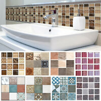 Self-adhesive PVC Mosaic Tile Stickers Waterproof Kitchen Bathroom Wall Decal