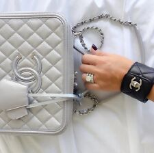 FABULOUS CHANEL BLACK CC LOGO SILVER TURN LOCK QUILTED LEATHER CUFF BRACELET