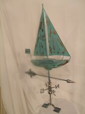 Large Handcrafted 3D 3-Dimensional Sailboat Weathervane Copper Patina Finish