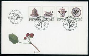 Denmark Scott #916-919 FIRST DAY COVER Cachet Flora Danica Ceramic ART $$