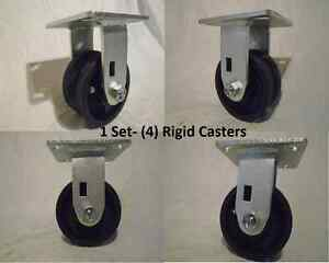 "4"" x 2"" Rigid Caster 7/8""  V-Groove Iron Steel Wheel 600lbs each (4)"