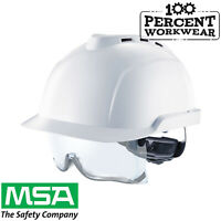 MSA V-GARD 930 Vented Work Safety Helmet Hard Hat Integrated Clear Spectacles