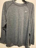 NWT Men's NIKE DRI-FIT Long Sleeve Crew Black Heather Tech Shirt Top XL UPF 40