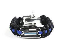 Police Lives Matter Flag Thin Blue Line Cops Paracord Survival Bracelet M/L