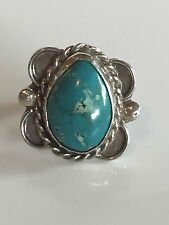 Classic Vintage NAVAJO Sterling Silver & TURQUOISE RING, Small Finger size 4.75