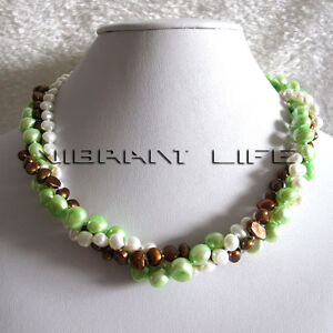 """18"""" 4-9mm 3Row Multi Color Baroque Freshwater Pearl Necklace D Jewelry UE"""