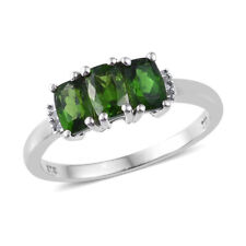 Diopside and Diamond Ring in Platinum over Sterling Silver  (Size 5) 1.69 ctw