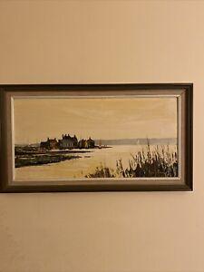 Harley Crossley Mudeford Quay Dorset Original Framed Palette Knife Oil Painting