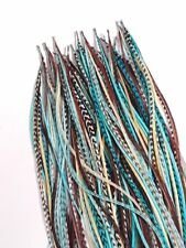 8-10 inch Turquoise,Brown,White,Grizzly 100% Real Hair 5 Feather Extensions bond