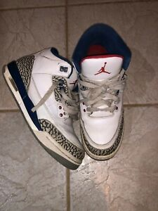 Nike Air Jordan 3 Retro OG-BG 854261 106 Youth Sz 6.5 Y White Fire Red True Blue
