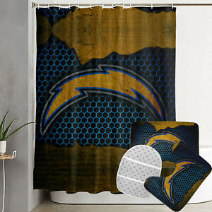 Los Angeles Chargers Bath Mat Non-Slip Floor Rug Shower Curtain Toilet Lid Cover