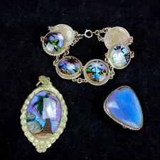 Vintage Monarch Butterfly Wing Jewelry,  Tropical Design Bracelet, Pin, Pendant