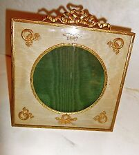 Antique French Bronze frame ,silk mat w bronze applied mounts