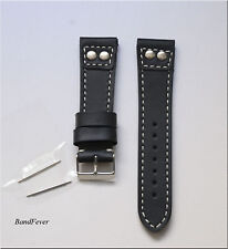 20MM Black Pilot with 2 SOLID Stainless buttons Genuine Leather watch band strap