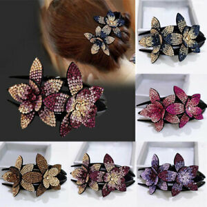 Women's Crystal Hair Claw Rhinestone Hairclip Jewelry Flower Fashion Hairpin