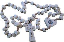 Rosary HANDMADE Of Stone Catholic Beige Rosaries From Medjugorje 17.5'' + BAG