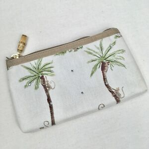 Monkey And Palm Tree Rhinestone Clutch Bag Purse Bamboo Pull Tropical Beach