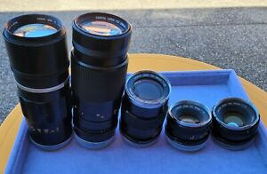5x Untested Unchecked Canon Vintage Camera Lens FD 50mm 135mm 300mm FL200mm B239