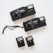 TWO Olympus XA 35mm Rangefinder Film Cameras with A11 & A16 flashes