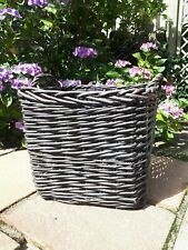 Vintage Style Chunky Wicker Storage Basket Square Rustic Rattan Laura Ashley
