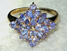 STUNNING AA TANZANITE 9CT GOLD WOW CLUSTER RING  SIZE O JEWELLERS OLD STOCK SALE