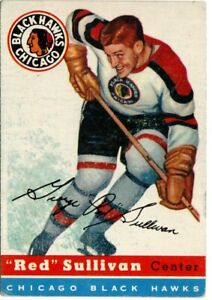 1954-55 TOPPS #42 RED SULLIVAN CHICAGO BLACK HAWKS EX