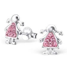 Per Bambini 925 Argento Sterling Ragazza Orecchio Borchie con Cristalli-confezione regalo gratuito