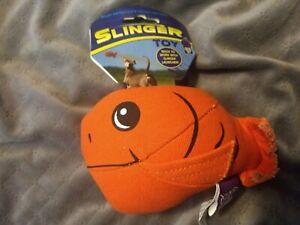 Multiplet Slinger Dog Toy Orange Fish Fetch