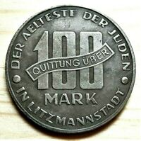 WW2 NAZI GERMANY ERA JUDE JEWISH 100 MARK EXONUMIA COIN GETTO 1943 LITZMANNSTA